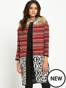 river-island-faux-fur-collar-jacquard-coat