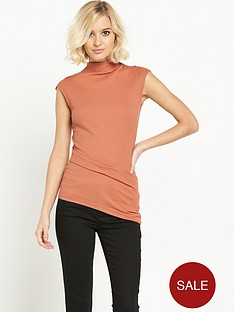 river-island-ribbed-asymmetric-high-neck-top