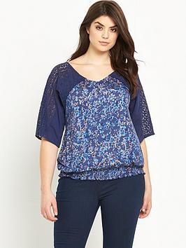 so-fabulous-lace-sleeve-shirred-hem-top