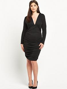 ax-paris-curve-plunge-neck-midi-dress