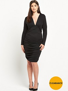 ax-paris-curve-plunge-neck-midi-dress
