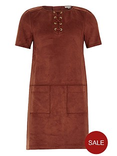 river-island-girls-suedettenbspdress-with-lace-up-detail