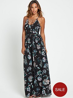 rochelle-humes-floral-tie-front-maxi-dress