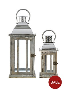 set-of-2-woodenmetal-lanterns
