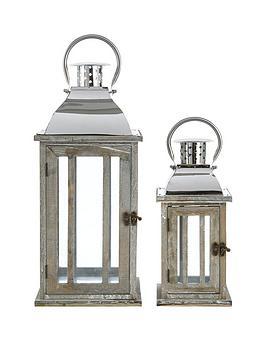 set-of-2-woodenmetal-lanterns