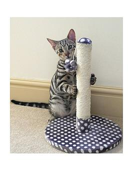 Rosewood Grey &Amp Cream Spot Dijon Cat Scratching Post