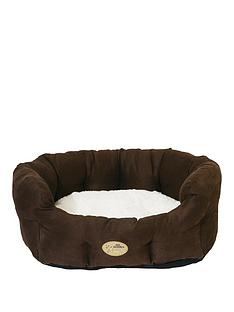 rosewood-choc-ampcream-faux-suede-oval-bed-20inch