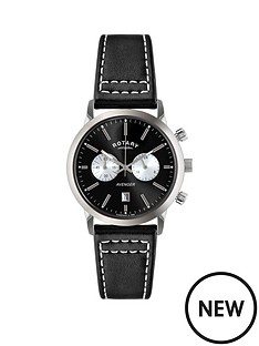 rotary-black-chronograph-date-dial-black-with-white-stitching-strap-mens-watch
