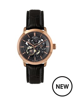 rotary-black-dial-rose-gold-plated-limited-edition-black-leather-strap-mens-watch