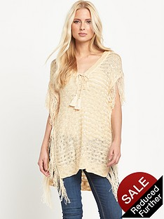 v-by-very-fringe-side-lace-up-neck-ponchonbsp