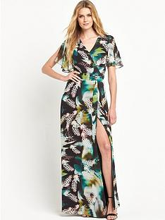 v-by-very-cape-sleeve-feather-maxi-dress