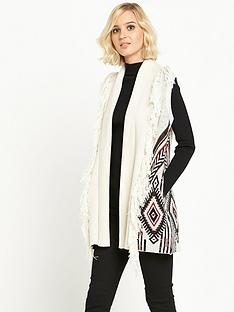 river-island-aztec-print-fringed-sleeveless-cardigan