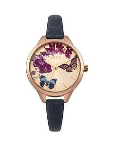 oasis-rose-gold-sunray-butterfly-printed-dial-navy-pu-strap-ladies-watch