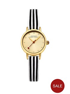 johnny-loves-rosie-gold-sunray-dial-black-and-white-pu-strap-ladies-watch