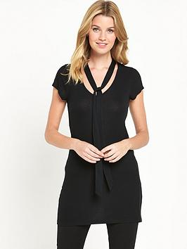 v-by-very-ss-tie-neck-ribbed-tunic