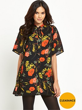 glamorous-tie-front-floral-dress