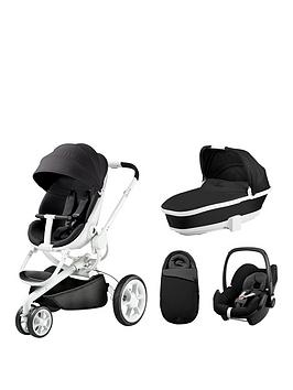 Quinny Moodd Foldable Carrycot Pebble Car Seat Bundle  Black Irony