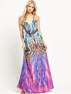 forever-unique-leslie-feather-print-maxi-dress
