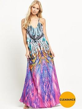 forever-unique-leslie-feather-print-maxi-dress