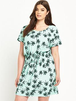 junarose-curve-palm-tree-print-tie-waist-jersey-dress