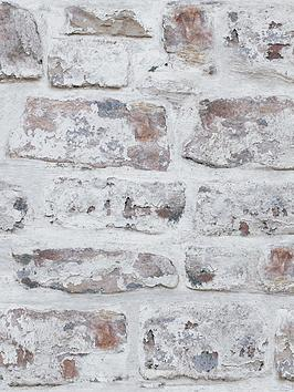 ARTHOUSE Arthouse Whitewashed Brick Wall Wallpaper Picture