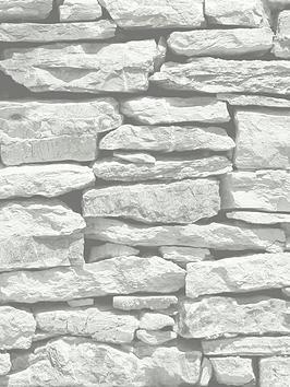 ARTHOUSE Arthouse Moroccan Stone Brick Wall Wallpaper - White Picture