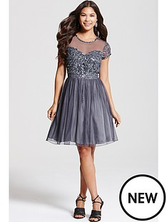 little-mistress-grey-fit-and-flare-embellished-dress