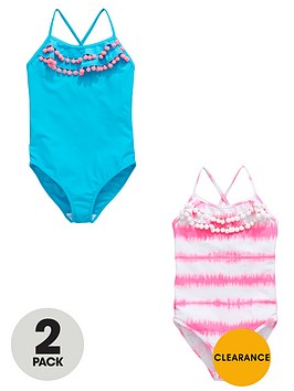 v-by-very-girls-ruffle-pom-pomnbsptrim-swimsuits-2-pack