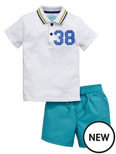 ladybird-boys-print-polo-and-ripstop-shorts-set-2-piece