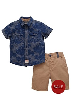 ladybird-boys-chambray-shirt-and-chino-shorts-set-2-piece