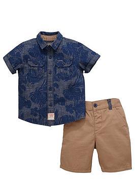 ladybird-boys-chambray-shirt-and-chino-shorts-set-2-piece