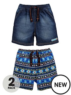 ladybird-toddler-boys-2pk-print-amp-denim-shorts