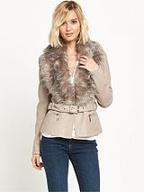 Faux Fur Fitted Belted Jacket