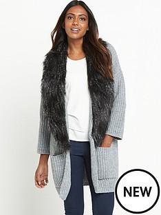 v-by-very-removable-faux-fur-trim-rib-cardigan