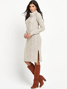 v-by-very-cowl-neck-cable-knitted-dress