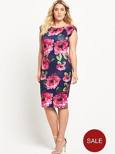 ax-paris-curve-capped-sleeve-midi-dress