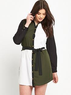 ax-paris-curve-block-print-shirt-dress