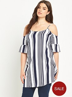 ax-paris-curve-striped-cold-shoulder-top