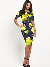 Short Sleeve Floral Midi Dress