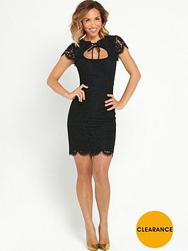 myleene-klass-tie-front-lace-pencil-dress