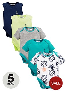 ladybird-baby-boys-bright-pineapple-bodysuits-5-pack