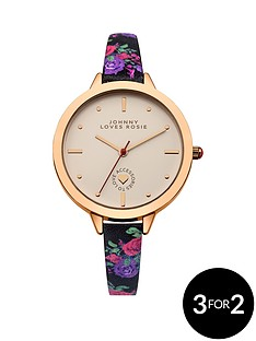johnny-loves-rosie-cream-dial-black-floral-printed-pu-strap-ladies-watch
