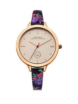 johnny-loves-rosie-cream-dial-black-floral-printed-pu-strap-ladies-watch