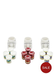 yankee-candle-12-classic-votives-with-3-white-wood-votive-holders