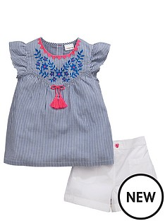 ladybird-girls-ticking-stripe-blouse-amp-short-set