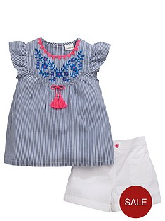 ladybird-girls-ticking-stripe-blouse-and-shorts-set-2-piece