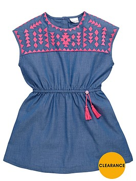 ladybird-girls-neon-embroidered-chambray-dress