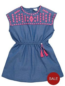 ladybird-girls-neon-embroidered-chambray-dress