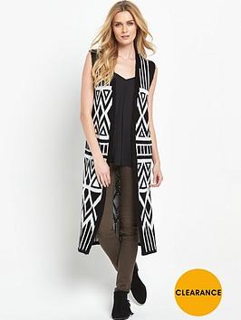 v-by-very-aztec-pattern-sleeveless-midi-brushed-cardigan