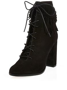 river-island-river-island-suede-leaf-trim-cuff-lace-up-black-ankle-boot